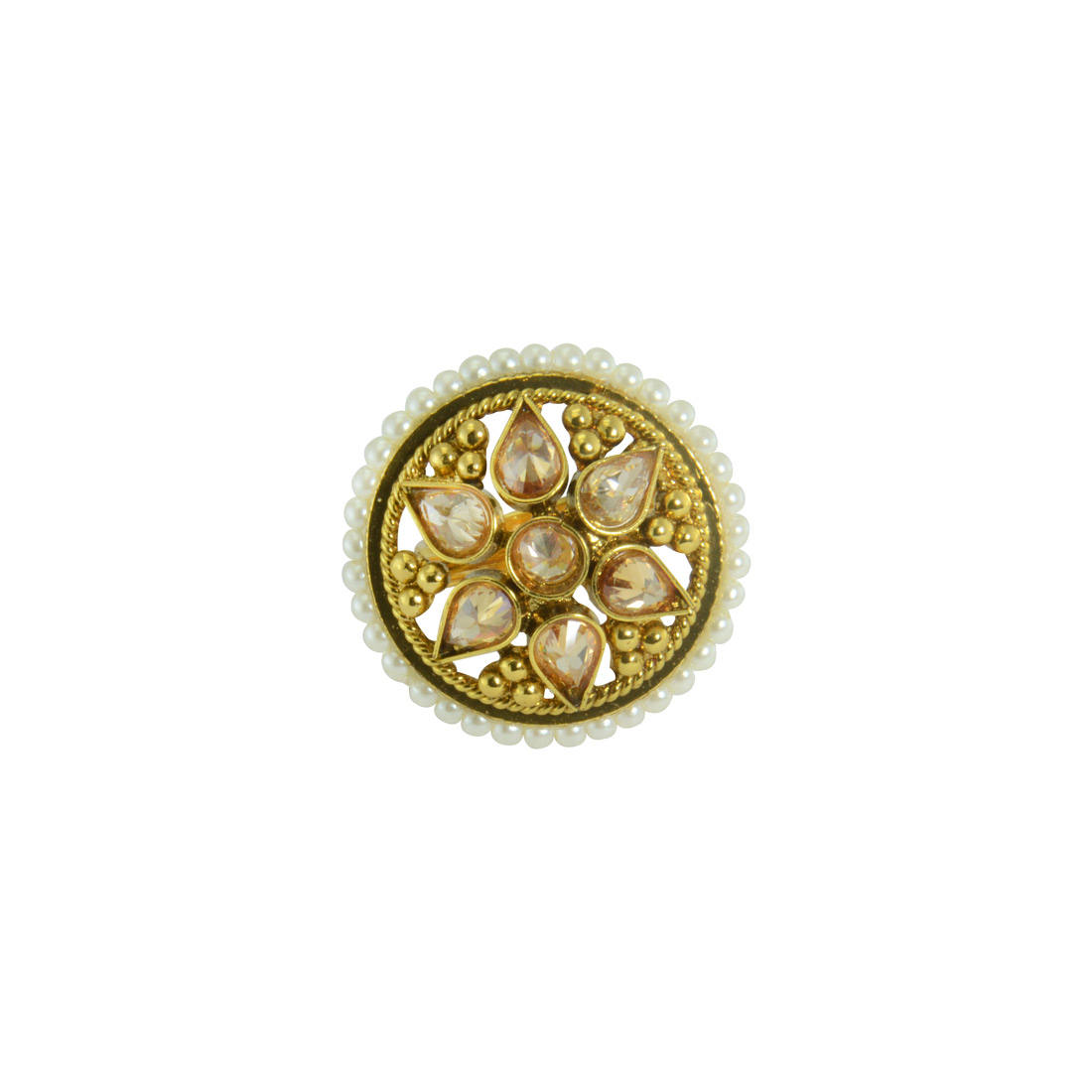 Designer Gold Plated Ring With White Pearl